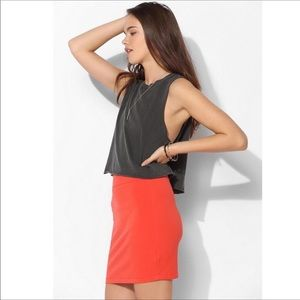 UO Silence And Noise Red Ponte Knit Mini Skirt M